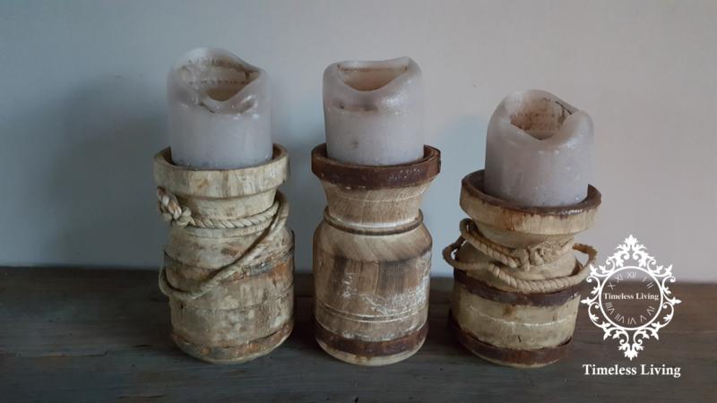 Waterkruik oud houten kandelaar - Maat S - no. 11