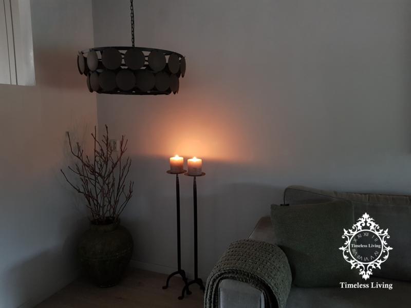 Schijvenlamp sober ZWART houten schijfjes (2 banen)  Ø 65 cm.