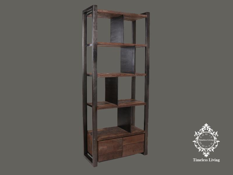 Wandmeubel Mauro - Industrieel en Sober stoer hout