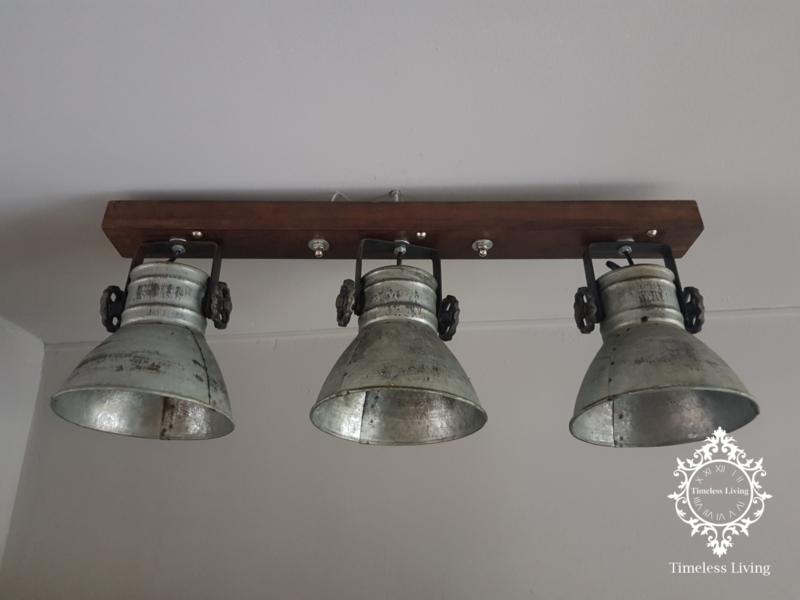 Plafondlamp Industrieel Angelique 3 spots - Vintage Metaal Hout
