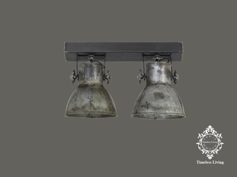 Plafondlamp Industrieel Angelique 2 spots - Vintage Zilver