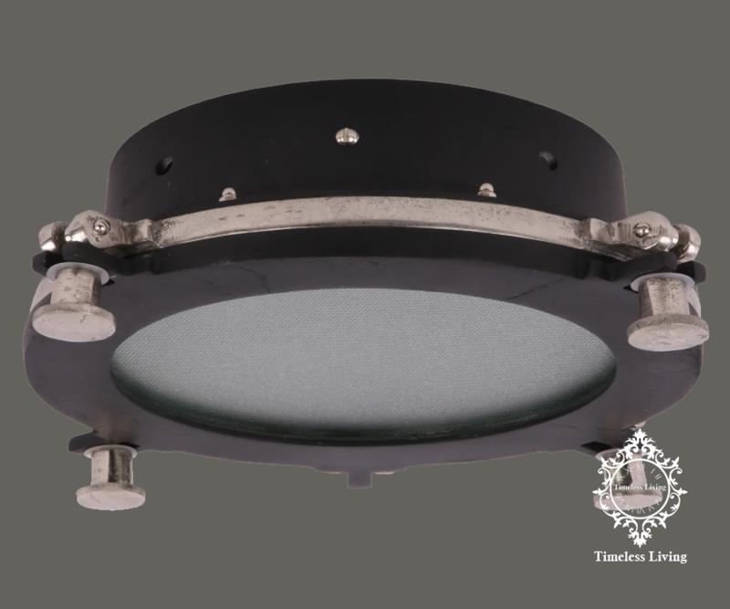 Plafondlamp Giovanni - Industrieel Mat zwart & Ruw nikkel - Maat L  Ø 42 cm.