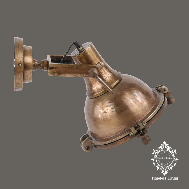 Wandlamp industrieel Tommy - Vintage Brons - Ø 26 cm.