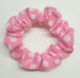 Scrunchie BASIC - roze witte stippen