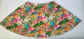 Papegaaien tropische bloemen rok - Maat 116