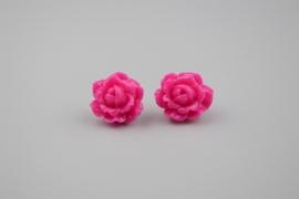 Pink rose oorbellen