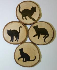 Onderzetters kat - set 4 stuks