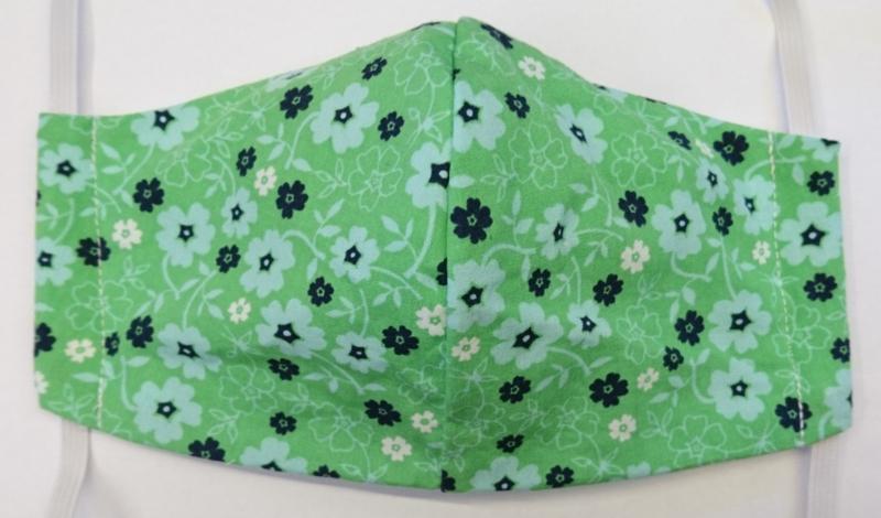 BASIC groen/bloemetje GLAD - Maat volwassenen