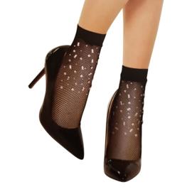 trendy enkelsokjes met steentjes 12 paar zwart