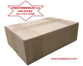 100 witte verzenddoosjes A4 305 x 220 x 100mm