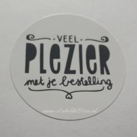Sticker - Veel plezier met je bestelling Wit - 10 stuks
