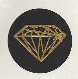 Sticker - Diamant met goud folie