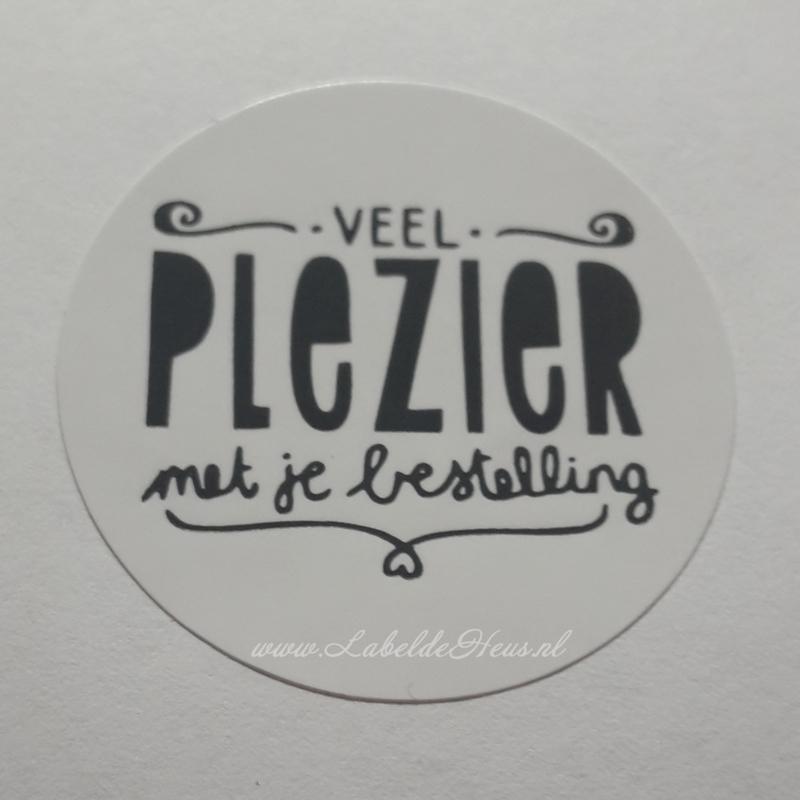 Sticker - Veel plezier met je bestelling Wit