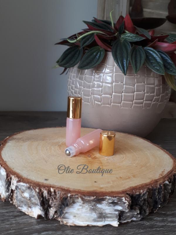 Roller 5 ml - licht roze glas