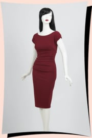 Polly Pencil Dress Burgundy