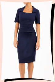 Sandown Pencil Dress Navy Blue