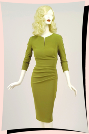 Marian Pencil Dress Chartreuse