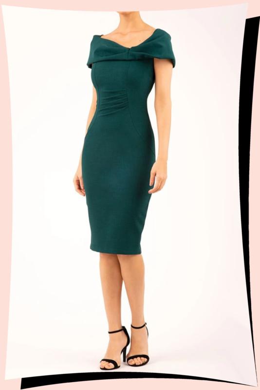 Mariposa Offshoulder Dress Forest Green