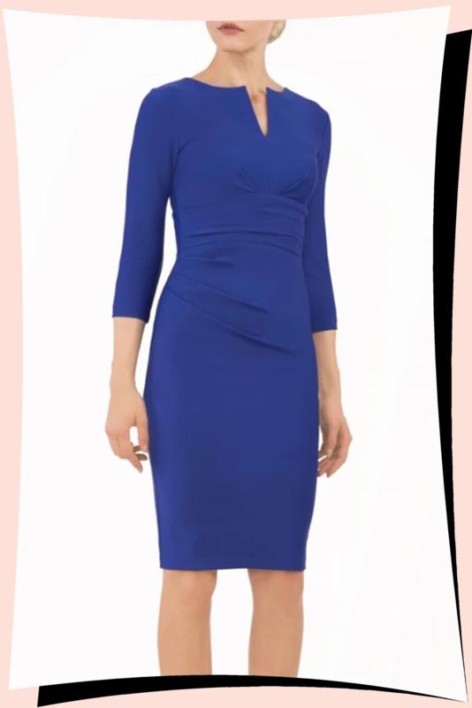 Donna 3/4sleeve Dress Cobalt Blue