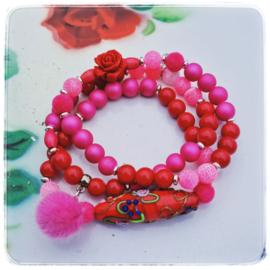 Armbanden set van 3 - Rood en roze