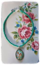 Ketting - Vintage hertje - groene kralen