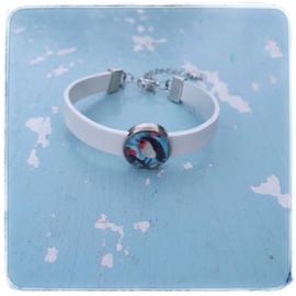 Armband leer off white - Roodborstje blauw - Adinda's World