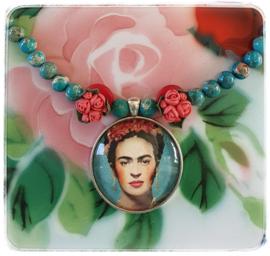 Ketting - Frida Kahlo - Turquoise & oud roze