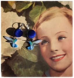Oorbellen - Kolibries blue velvet