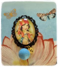 Broche - Gypsy soul - met blauw bolletje