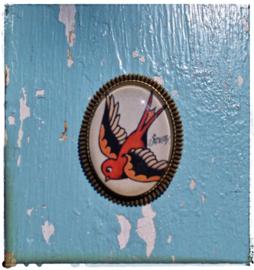 Broche Old-school tattoo Swallow (bronskleurig)