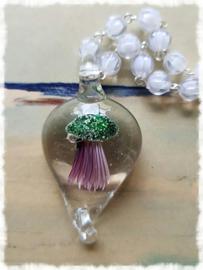 Ketting - Jellyfish groen (kwal in glas)