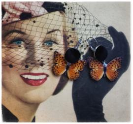 Oorbellen - Vlinders black velvet