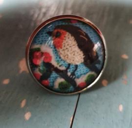 Broche Roodborstje blauw - naar ontwerp van Adinda's World