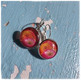 Oorbellen - Dahlia's in vrolijk oranje en roze