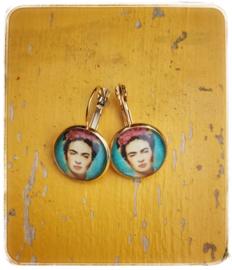 Oorbellen - Frida Kahlo - Turquoise in gouden setting