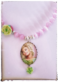 Ketting - Marilyn Monroe - pink & green