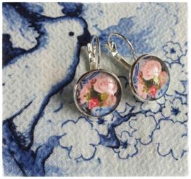 Oorbellen - Delfts blauw met rozen