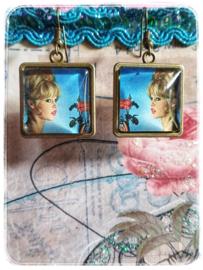 Oorbellen - Brigitte Bardot - Skyblue in brons