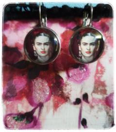 Oorbellen - Frida Kahlo - bordeaux rond