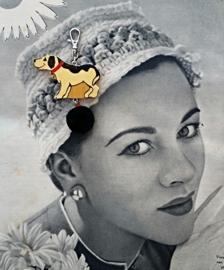 Vintage happy dog zwart fluffie