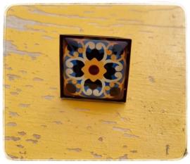 Ring - Retro Blauw met geel
