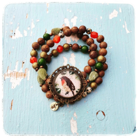 Armbanden set van 3 - Roodborstje naturel - Adinda's World