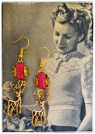 Oorbellen - Retro kitsch hertjes roze