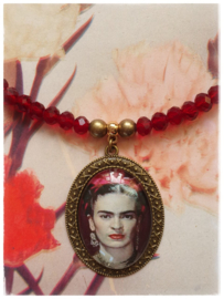 Ketting - Frida Kahlo - bordeaux chique