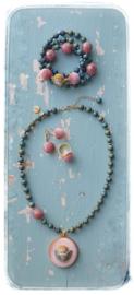 Geweldig setje met engeltje  - Ketting, armbanden set, oorbellen en ring