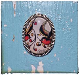 Broche Old-school tattoo Swallows (zilverkleurig)