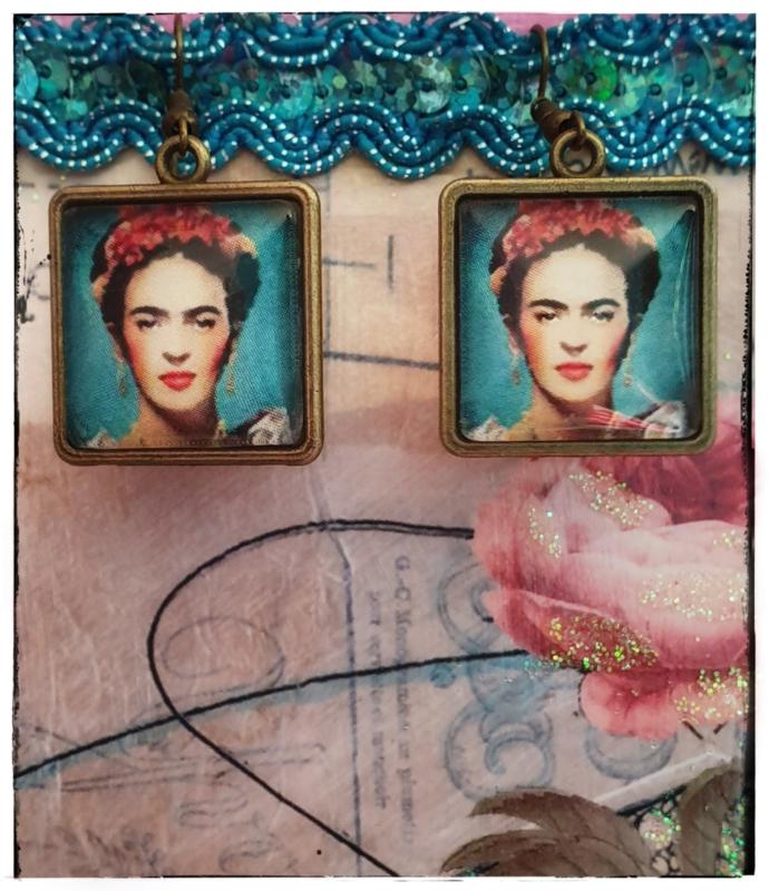 Oorbellen - Frida Kahlo - Turquoise in brons