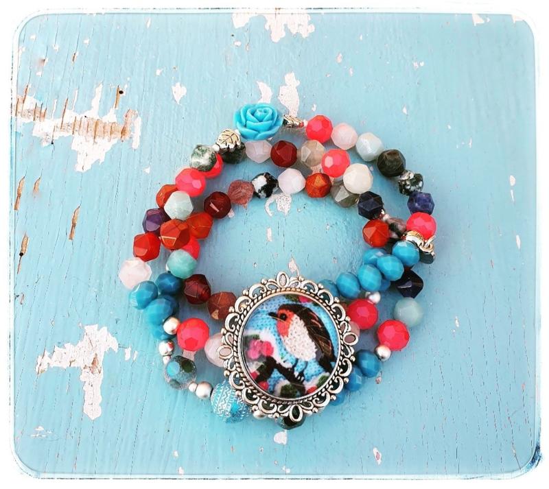 Armbanden set van 3 - Roodborstje blauw - Adinda's World