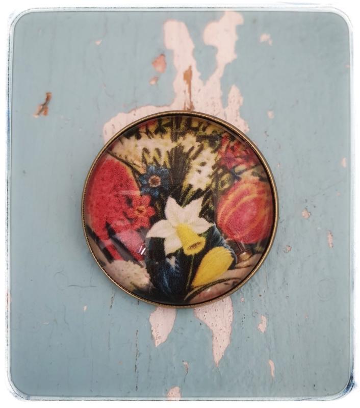 Broche - Vintage voorjaarsbloemen