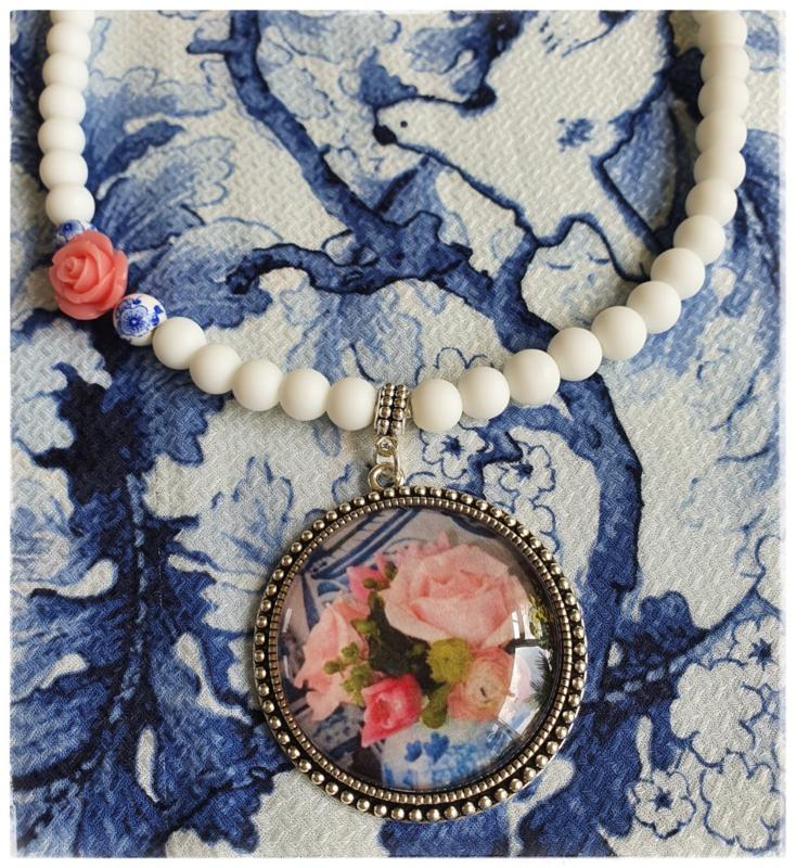 Ketting - Delfts blauw met rozen